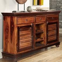 Shaker Rustic Solid Wood 3 Drawer Wine Bar Sideboard Cabinet