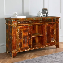 Crossville Rustic Reclaimed Wood Handmade Large Sideboard Cabinet
