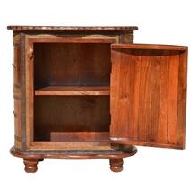 Turkish Brass Inlay Golden Mango Wood Oval Accent Nightstand Cabinet