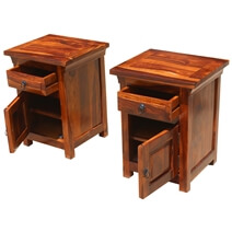 Afton Rustic Farmhouse Solid Wood 1 Drawer Nightstand Cabinet Set of 2
