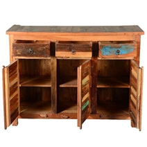 Hamilton Handcrafted Reclaimed Wood 3 Drawer Rustic Sideboard Cabinet
