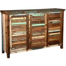 Stockton Rustic Reclaimed Wood Shutter Door Large Buffet Cabinet