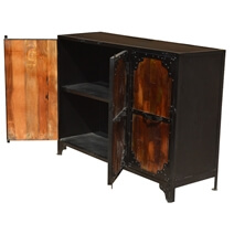 Amelia Reclaimed Wood & Iron 3 Door Industrial Sideboard Cabinet
