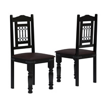 Harold Traditional Solid Rosewood Leather & Iron Dining Chairs (Set of 2)