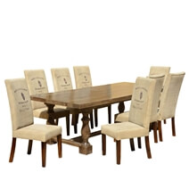 Cafe Logo Large Rustic Solid Wood Trestle Baluster Dining Table