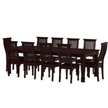 Colonial American Large Rustic Wood Dining Table and 10 Chairs Set