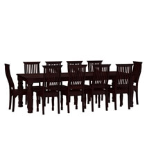 Colonial American Large Rustic Wood Dining Table and Chairs Set
