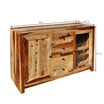 Dallas Ranch Rustic Solid Wood 3 Drawer Wine Bar Sideboard Cabinet
