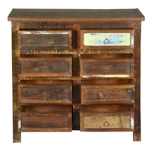 Newark Rustic Reclaimed Wood 8 Drawer Double Dresser