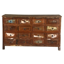 Appalachian Rustic Reclaimed Wood 16 Drawer Dresser Chest