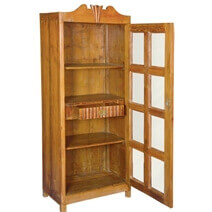 Colonial One Door Solid Teak Wood Display Cabinet Armoire With Shelves