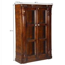 Berkeley 3 Shelf Rustic Solid Wood Bookcase With Glass Doors