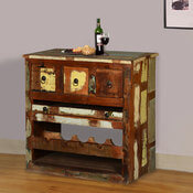 Whitney Rustic Reclaimed Wood Wine Rack Liquor Storage Cabinet