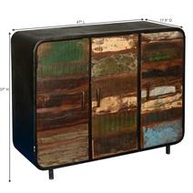 Retro Reclaimed Wood 3 Door Industrial Buffet