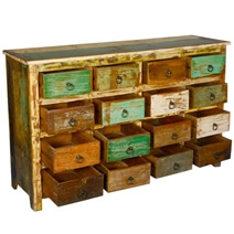 Riverside Retro Rustic Reclaimed Wood 16 Drawer Dresser