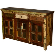 Appalachian Rustic Reclaimed Wood Window Pane Large Sideboard Cabinet