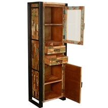 Mondrian Solid Reclaimed Wood Tall Industrial Narrow Display Cabinet