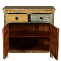 Attica Rustic Reclaimed Wood Shutter Door 2 Drawer Sideboard Cabinet