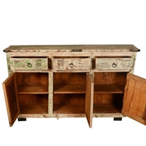 Sefton Rustic Reclaimed Wood Scalloped Edge 3 Drawer Large Sideboard