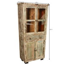 Bonifay Solid Reclaimed Wood Display Cabinet Armoire With Drawer