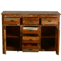 Pedro Handcrafted 6 Drawer Rustic Reclaimed Wood Sideboard