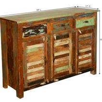 New Memories Rustic Reclaimed Wood Louvered Door 3 Drawer Sideboard