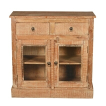 Wild West Rustic Mango Wood Glass Door 2 Drawer Buffet Cabinet