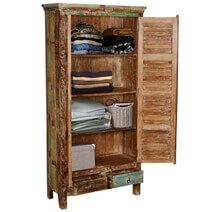 Buford Freestanding Solid Reclaimed Wood Armoire Closet With Shelves