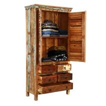 Hopedale Rustic Reclaimed Wood Shutter Door Armoire Cabinet
