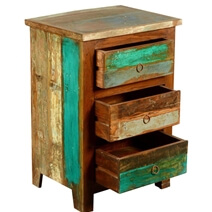 Kirby Rustic Reclaimed Wood 3 Drawer Nightstand