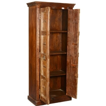 Ashmore Gothic Door Solid Reclaimed Wood Tall Armoire With Shelves