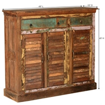 Madison Rustic Reclaimed Wood 3 Drawer 3 Door Tall Sideboard Cabinet