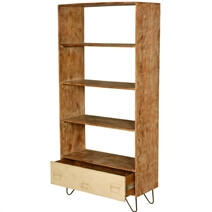 Industrial Mango Wood & Iron Open Back Home Office Bookcase