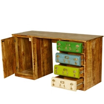 Steam Punk 4-Drawer Mango Wood & Iron 2 Section Home Office Desk