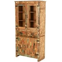Mondrian Rustic Reclaimed Wood 2 Drawer Tall Display Cabinet