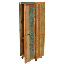 Raiford Retro Rustic Reclaimed Wood Rolling Wheel Narrow Linen Cabinet