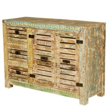 Wanship Handcrafted Rustic Reclaimed Wood 3 Drawer Buffet Cabinet