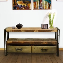 Rustic Modern Industrial Reclaimed Wood & Iron Media Console