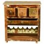 Merizo Rustic Reclaimed Wood Rolling Wheel Bar Cabinet With Wine Rack