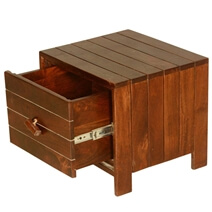 Parallel Lines Teak Wood Standing Cube File Cabinet End Table