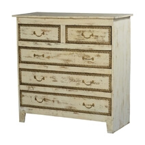 New Orleans Rustic Solid Wood White Bedroom Dresser Chest w 5 Drawers