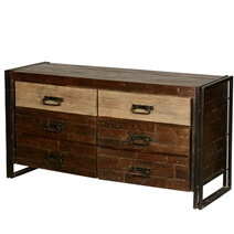 Bricks Reclaimed Wood Industrial Double Dresser Chest