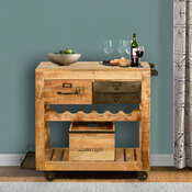 Brunswick Rustic Rolling Solid Wood Wine Rack Serving Cart
