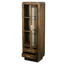 Hialeah Rounded Corners Mango Wood Narrow Display Cabinet With Drawers