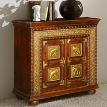 Classic Solid Wood & Brass Accent Storage Cabinet Small Sideboard