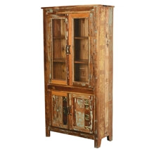 Bethlehem Rustic Reclaimed Wood Glass Door Tall Display Cabinet