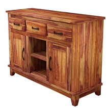 Sierra Nevada Modern Solid Wood 3 Drawer Rustic Sideboard