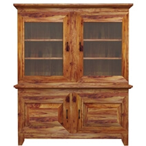 Sierra Nevada Traditional Solid Wood Glass Door Large Kitchen Hutch