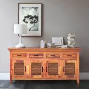 San Francisco Rustic Solid Wood Shutter Door Large Sideboard Cabinet