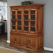 Oklahoma Rustic Solid Wood Glass Door Dining Room Hutch